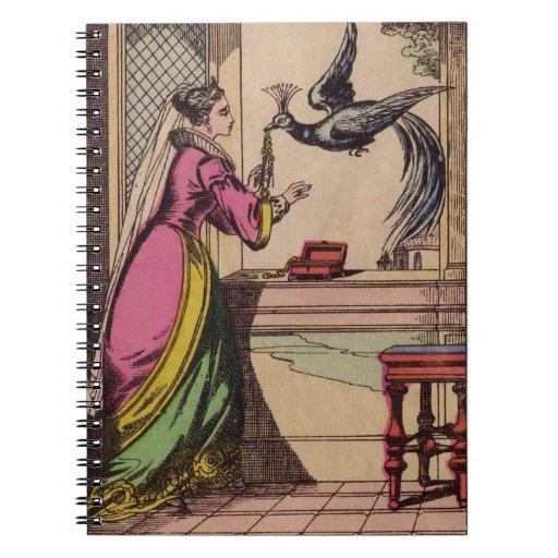 Pavo real y mujer del vintage libretas espirales