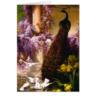 Pavo real y palomas en un jardín tarjeta de felicitación