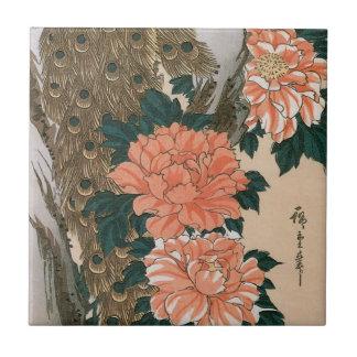 Pavo real y Peonies por Hiroshige, arte japonés Azulejo Ceramica