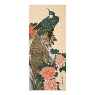 """Pavo real y Peonies por Hiroshige, arte japonés Invitación 4"""" X 9.25"""""""