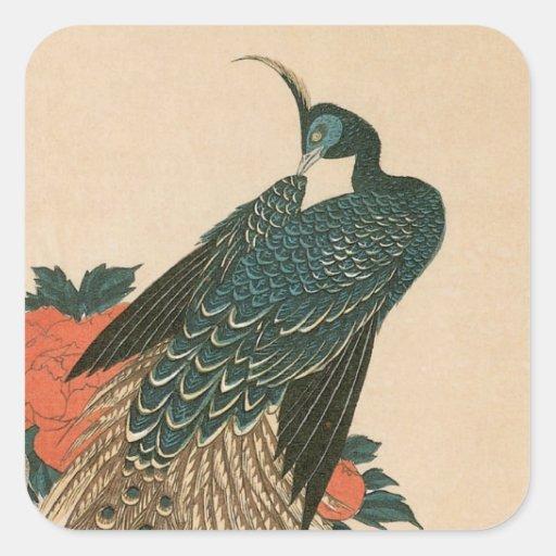 Pavo real y Peonies por Hiroshige, arte japonés Pegatina Cuadrada