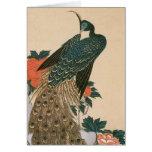 Pavo real y Peonies por Hiroshige, arte japonés Tarjeta De Felicitación