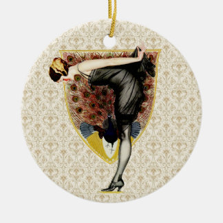 Pavo real y Pin encima del chica Ornaments Para Arbol De Navidad