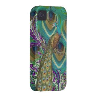 Pavo real y plumas púrpuras de Paisley de la iPhone 4 Fundas