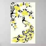 Pavo real y poster amarillos negros de las flores