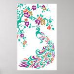 Pavo real y poster coloridos de las flores de cere