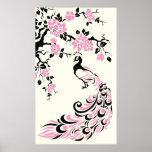 Pavo real y poster rosados negros de las flores de