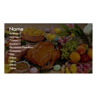 Pavo y jamón cocinado delicioso, flores y fruta tarjetas de visita