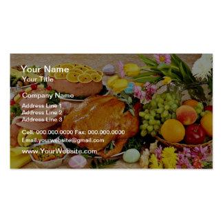 Pavo y jamón cocinado, flores y flores de la fruta tarjeta de visita
