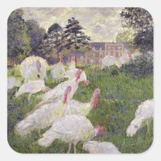 Pavos de Claude Monet el   en Chateau de Pegatina Cuadrada
