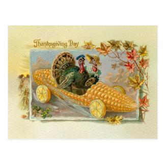 Pavos del vintage en coche de la mazorca de maíz tarjeta postal