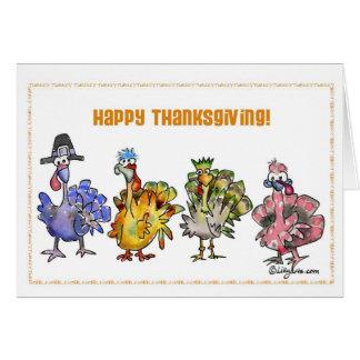 Pavos felices de la acción de gracias tarjeta de felicitación