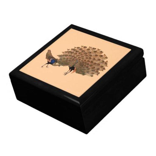 Pavos reales adaptables del asiático del vintage joyero cuadrado grande