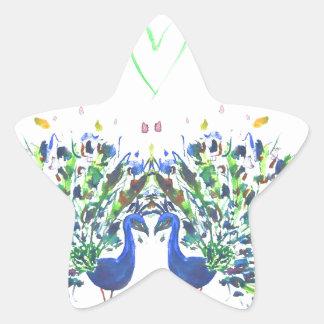 Pavos reales azules con el watercolour del corazón pegatina en forma de estrella
