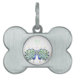 Pavos reales azules con el watercolour del corazón placa mascota