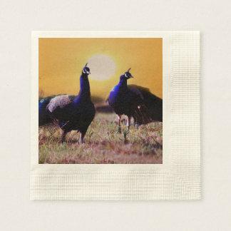 Pavos reales azules servilletas de papel