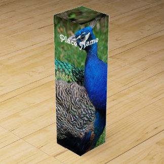 Pavos reales caja para botella de vino