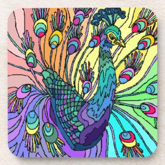 Pavos reales coloridos de los pájaros del pavo rea posavasos de bebidas