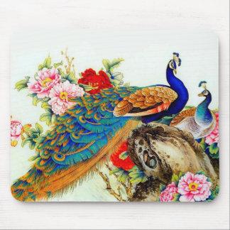 Pavos reales coloridos del vintage alfombrilla de ratón