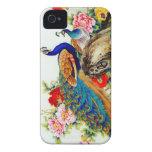 Pavos reales coloridos del vintage Case-Mate iPhone 4 cárcasas