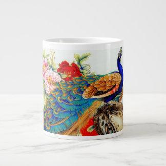 Pavos reales coloridos del vintage taza grande