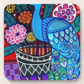 Pavos reales con arte de las flores por el brezo G Posavasos De Bebidas