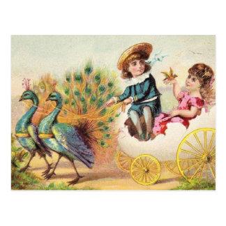 Pavos reales de Pascua del vintage Postal