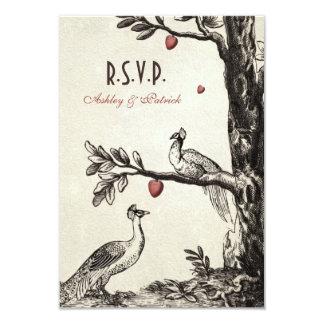 """Pavos reales del vintage en árbol de amor invitación 3.5"""" x 5"""""""