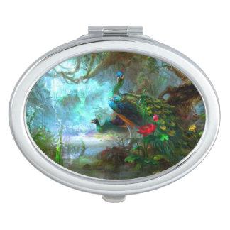 Pavos reales en un espejo del acuerdo del jardín espejo para el bolso