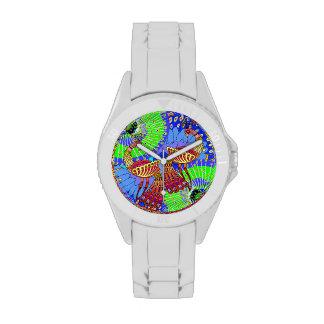 Pavos reales - pares - Illustation - reloj