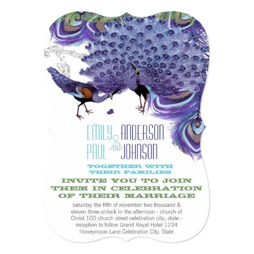 Pavos reales púrpuras de la púrpura de la pluma invitación 12,7 x 17,8 cm