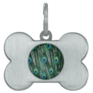 pavos reales verdosos que abren plumas placas de nombre de mascota