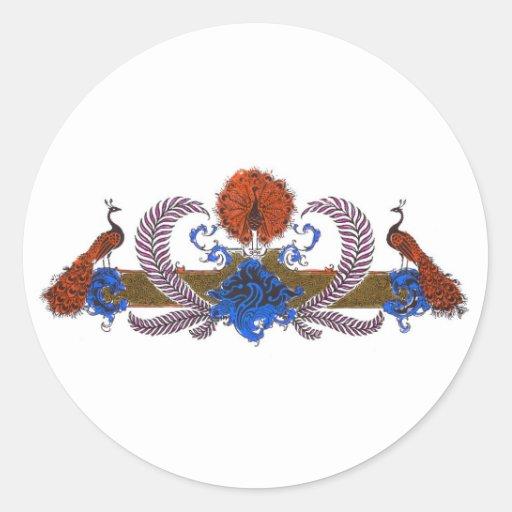 Pavos reales y azul de Brown de la guirnalda Pegatina Redonda