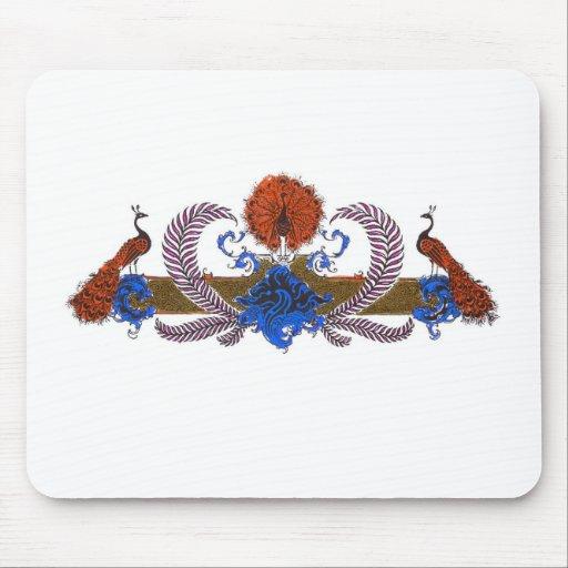 Pavos reales y azul de Brown de la guirnalda Alfombrillas De Ratones