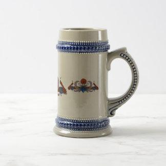 Pavos reales y azul de Brown de la guirnalda Tazas De Café