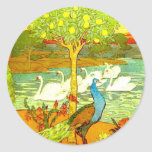 Pavos reales y cisnes de Nouveau del arte Pegatina Redonda