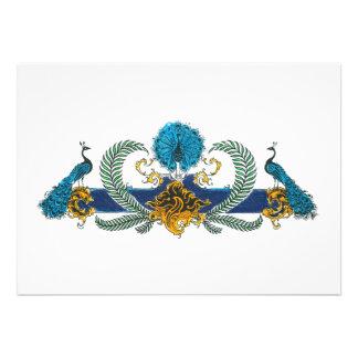 Pavos reales y guirnaldas azules y de oro invitación