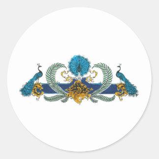 Pavos reales y guirnaldas azules y de oro pegatina redonda