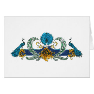 Pavos reales y guirnaldas azules y de oro tarjeta pequeña