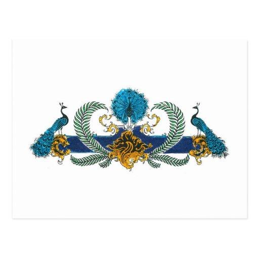 Pavos reales y guirnaldas azules y de oro tarjetas postales