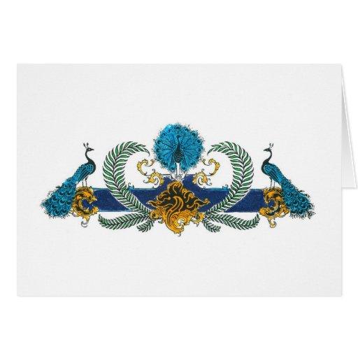 Pavos reales y guirnaldas azules y de oro tarjetas