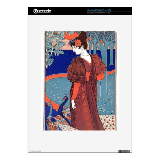 Pavos reales y mujer del vintage iPad skins