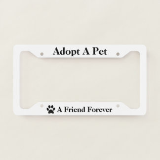 Paw Adopt a Pet Animal Dog Cat Pick Rim Color License Plate Frame