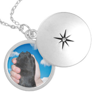 PAW AND HAND SILVER PLATED NECKLACE