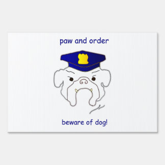 paw and order lawn sign