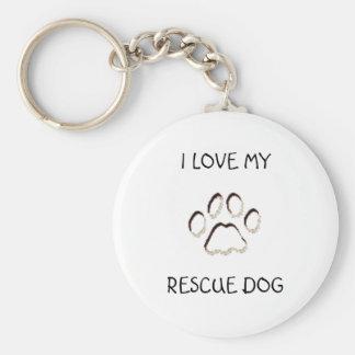 paw background, I LOVE MY, RESCUE DOG Keychain