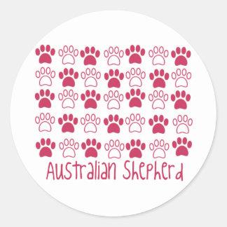 Paw by Paw Australian Shepherd Classic Round Sticker