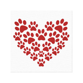 Paw heart stretched canvas print