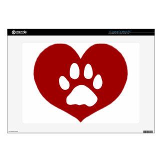 "Paw Heart-Red 15"" Laptop Skin"