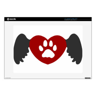 Paw Heart Wing Grey-Red Skin For Laptop